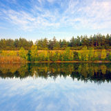 View to river`s shore at autumn day Stock Image