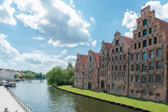 View to the river Trave and the salt storage house in Luebeck Royalty Free Stock Photography