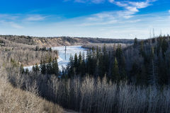 View to river valley in early spring, Edmonton, Alberta Stock Photo