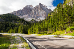 View to road and Dolomites mountains, Italy, Europe Royalty Free Stock Photography
