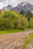 View to road at foothills of Caucasus mountains near Arkhyz, Kar Stock Photography