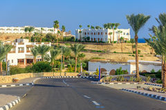 The view to road and palm trees near the hotels. The view to road and palm trees near the buildings of hotels territory in Egypt Royalty Free Stock Images