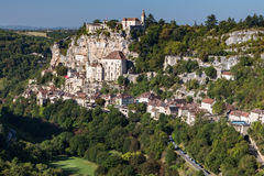 View to Rocamadour. Picturesque view to french village Rocamadour, place of catholic pilgrimage Stock Photo