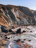 View to rock formations at the Pacific Coast of California Royalty Free Stock Photos