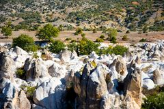 View to the rock formations in Phrygian Valley. View to the rock formations  in Phrygian Valley in Afyon Royalty Free Stock Photos