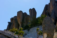 View to the rock formations in Phrygian Valley. View to the rock formations  in Phrygian Valley in Afyon Stock Photos