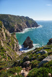 View to the rocks and ocean. View from the cliff to the rocks and ocean stock image