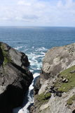 View to the rocks and sea water at Mizen Head Ireland. View to the rocks and sea water on the horizon at Mizen Head Ireland Stock Image