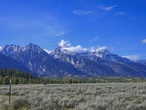 view to the rocky mountains stock images