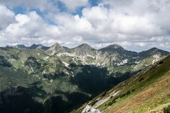 View to Rohace mountain group from Otrhance mountain ridge in Western Tatras mountains in Slovakia. View to Rohace mountain group with Volovec, Ostry Rohac royalty free stock photo