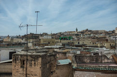 View to roof of medieval Fez medina from Nejjarine Museum of Woo Stock Photo