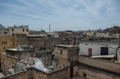 View to roof of medieval Fez medina from Nejjarine Museum of Woo Royalty Free Stock Image