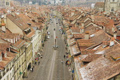 View to the roofs of the historical buildings from the famous Clock tower in Bern, Switzerland. Royalty Free Stock Photos