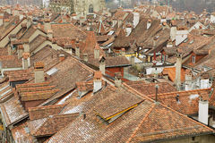 View to the roofs of the historical buildings from the famous Clock tower in Bern, Switzerland. Royalty Free Stock Photography