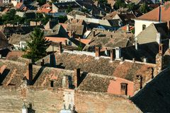 View to the roofs of the houses in the center of Sibiu from above , Romania. View to the roofs of the houses in the center of Sibiu, Romania Royalty Free Stock Images