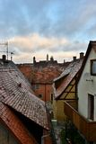 View to the roofs in old town Rotenburg on Tauber, Royalty Free Stock Photo