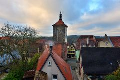 View to the roofs in old town Rotenburg on Tauber, Royalty Free Stock Photos