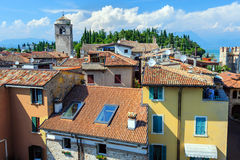 View to the Roofs of Sirmione and from Scaliger castle Royalty Free Stock Photography