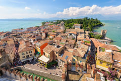 View to the Roofs of Sirmione and from Scaliger castle Royalty Free Stock Photos