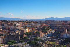 View to rooftops of Rome skyline from the Monument of Vittorio Emanuele II stock photo