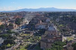 View to rooftops of Rome skyline from the Monument of Vittorio Emanuele at Piazza Venezia. Stock Photos