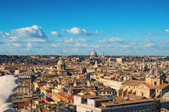 View to rooftops of Rome skyline with from the Monument of Vittorio Emanuele at Piazza Venezia in Rome, Italy stock photos