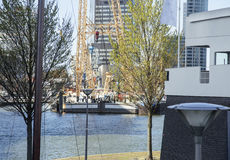 View to Rotterdam city harbour, future architecture concept, bright landscape. Casual stock photo
