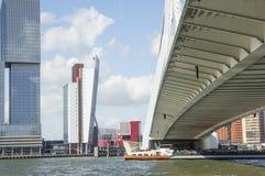 View to Rotterdam city harbour, future architecture concept, bright landscape. Noone stock photo