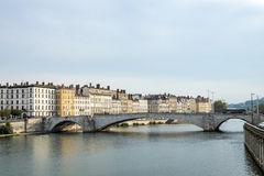View to Rriver rhone and skyline of Lyon, France Stock Photos