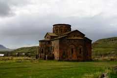 View to ruined Cathedral of Talin, Aragatsotn Stock Photos