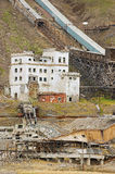 View to the ruined coal mine in the abandoned Russian arctic settlement Pyramiden, Norway. Royalty Free Stock Images