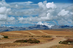 View to the Sacred Mount Kailash 6714 m. View to the Sacred Mount Kailash 6714 m from the valley in cloudy day Stock Photography
