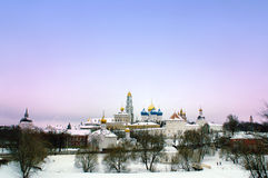 View to the Saint Sergius and Trinity Lavra. A view to the Saint Sergius and Trinity Lavra in Sergiev Posad, near Moscow, part of the Golden Ring cities Royalty Free Stock Images