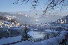 View to the Salzach from Mönchsberg, Salzburg, Austria. Winter landscape, view to the Salzach from Mönchsberg, Salzburg, Austria Stock Images