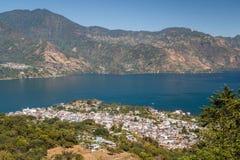 A view to San Pedro La Laguna town on Atitlan lake. Guatemala Royalty Free Stock Photo