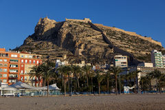 View to Santa Barbara castle in Alicante, Spain Stock Photos
