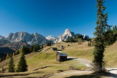 View to Sassongher and Sella Royalty Free Stock Photos