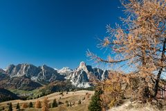 View to Sassongher and Sella Royalty Free Stock Images