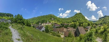 View to scenic smal village of Baume les Messieurs. In the french Jura Region royalty free stock images