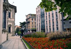View to sculpture in front of old Senate building in Milan. Royalty Free Stock Images