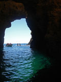 View to sea from cave in Portugal Royalty Free Stock Image