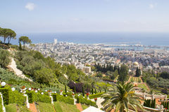 View to Sea ,City of Haifa and harbor in Israel Royalty Free Stock Images
