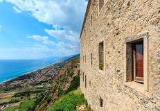 Fiumefreddo Bruzio view, Calabria, Italy. View to sea coast from Fiumefreddo Bruzio one of Italian Most Beautiful Villages, on mountain hill top above Tyrrhenian stock image