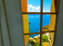 View to the sea from doors in Fira village of Santorini island. View to the sea from doors in Fira the most beautiful village of Santorini island in Greece Stock Images