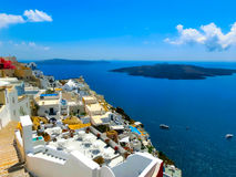 View to the sea from Fira village of Santorini island in Greece Stock Images