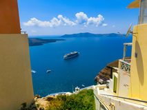 View to the sea from Fira village of Santorini island in Greece. View to the sea from Fira the most beautiful village of Santorini island in Greece Royalty Free Stock Photos
