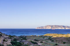 View to the sea in Kimolos island, Cyclades, Greece, early in the morning Stock Photography