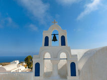 View to the sea from Oia village of Santorini island in Greece. View to the sea from church bell tower in Oia the most beautiful village of Santorini island in Stock Photography