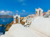 View to the sea from Oia village of Santorini island in Greece. View to the sea from church bell tower in Oia the most beautiful village of Santorini island in Stock Photos