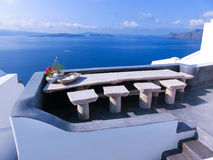View to the sea from Oia village of Santorini island in Greece Royalty Free Stock Image